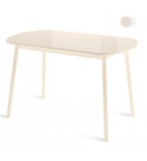 Стол РАУНД 70x120 кремовый со стеклом