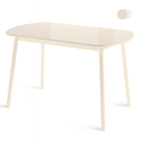 Стол РАУНД Мини со стеклом (кремовый)