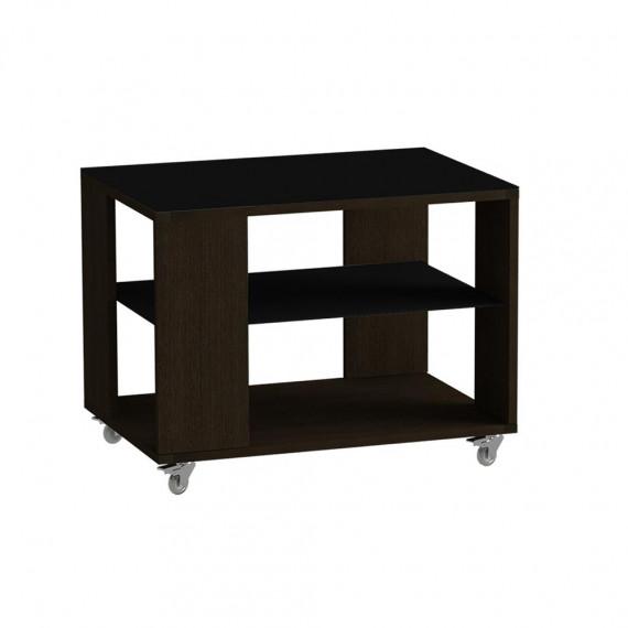 Стол журнальный LS 733, 02.01 (корпус-венге,стекло-черный)