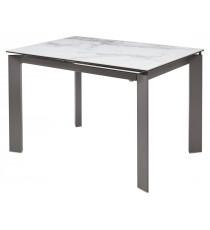 Стол CORNER 120 VOLAKAS WHITE Белый мрамор глянцевый, керамика/ GREY1