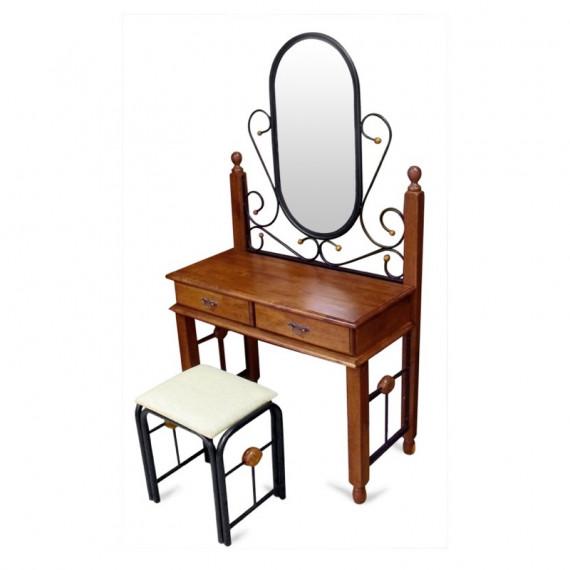 Туалетный столик с пуфом (AT-992 - Красный дуб)