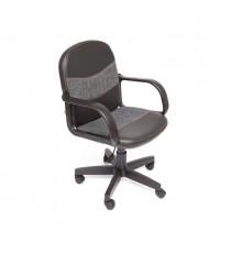 Кресло компьютерное BAGGI (иск. кожа-ткань, черный-серый)