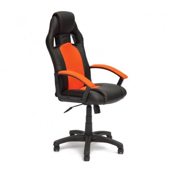 Кресло компьютерное DRIVER (иск. кожа+ткань, черный/оранжевый)