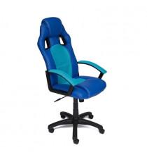 Кресло компьютерное DRIVER (иск. кожа/ткань, синий/голубой)