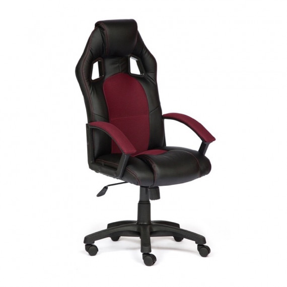 Кресло компьютерное DRIVER (иск. кожа/ткань, черный/бордо)