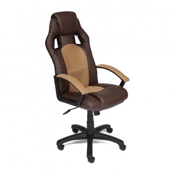 Кресло компьютерное DRIVER (иск. кожа-ткань, коричневый-бронза)