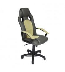 Кресло компьютерное DRIVER (иск. кожа/ткань, металлик/фисташковый)