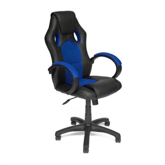 Кресло компьютерное DRIVER (иск. кожа/ткань, черный/синий)