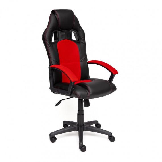 Кресло компьютерное DRIVER (иск. кожа-ткань, черный-красный)