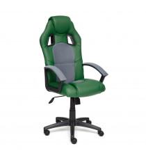 Кресло компьютерное DRIVER (иск. кожа-ткань, зеленый-серый)