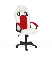 Кресло компьютерное DRIVER (иск. кожа-ткань, белый-красный)