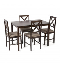 Обеденный комплект «Хадсон» (Hudson) (стол + 4 стула) (Cappuccino (тёмный орех)