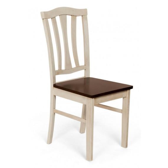 Стул твёрдым сиденьем СТ 8162 (Античный белый/Тёмный дуб)