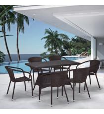 Комплект плетеной мебели T198D/Y137C-W53 Brown 6Pcs