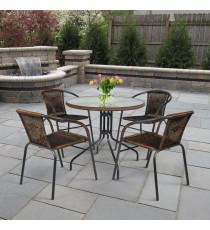 Комплект мебели Николь-1A TLH-037AR3/080RR-D80 Cappuccino (4+1)