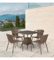 Комплект мебели из иск. ротанга T197BT/Y137C-W56 Light brown (4+1)