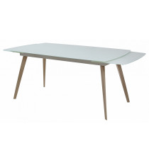 Стол  ELIOT 160 Super white glass+Wood матовое стекло